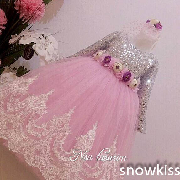 2016 Bling Sequin Hot Pink Lace flower girl dresses with Bow baby 1 year Birthday Party Dress beauty pageant dresses ball gowns<br><br>Aliexpress