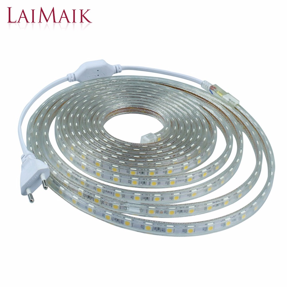 LAIMAIK LED Strip Light Waterproof SMD5050 Led Tape AC220V Flexible Led Strip 60 Leds/Meter Outdoor Garden Lighting with EU Plug(China (Mainland))