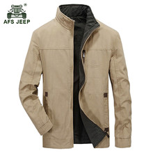 AFS JEEP 2017 Two-sided wear jacket spring men's casual brand army green jacket coat man autumn 100% cotton khaki jackets coats