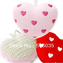 Free Shipping love heart bath ball Bath flower bath sponge red color 10pieces/lot(China)