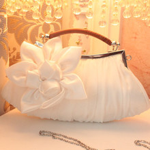 Women Handbag white Wedding stain silk Flower bridal/bridesmaid Bag Women Clutch/prom/party/shoulder Bag Free Shipping(China)