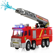 30X Electric Rescue Fire Engine Ladder Truck Kids Action Toy with Water Pump Flashing Light And Sounds(China)