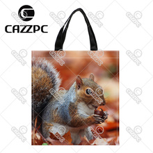 Autumn Lovely Greedy squirrels Pattern Print Custom individual waterproof Nylon Fabric shopping bag gift bag Pack of 2