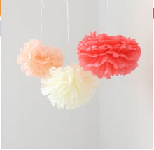 6PCS Coral Peach Ivory Tissue Paper Flower Pom Poms Pompoms Wedding Birthday Anniversary Party Christmas Girls Room Decoration