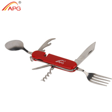 APG Multifunction 6 in 1 Folding Camping Tableware Portable Picnic Cutlery Set Stainless Steel Travel Dinnerware