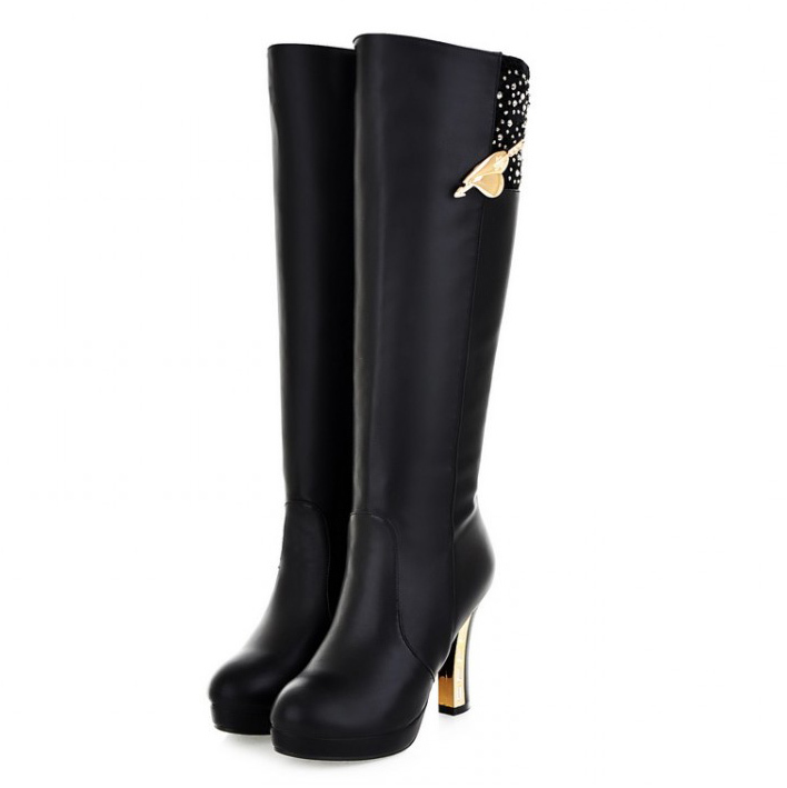 Black / Brown 2017 fashion sexy high heel Knee-high boots womens autumn winter long motorcycle boots for women lady pumps<br><br>Aliexpress
