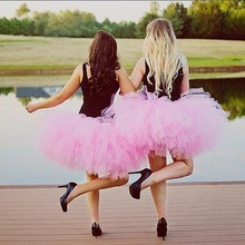 Faldas Saias Fuchsia Color Lush Tulle Skirts 2017 High Custom Made Puffy Mini Tutu Skirt For Women Elastic Style Ballet(China)