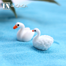 2pcs Micro Landscape Decoration Cute Mini Swan Duck Model Animal Action Figure Toys Ornament DIY Fairy Garden Bonsai Accessories(China)
