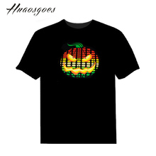 Pumpkin EL Sound Activated Tshirt Light Up and down Equalizer music activated led flash T-Shirt Man for Party DJ Festival(China)