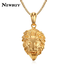 NEWBUY Brand Punk Jewelry Gold-color Stainless Steel Lion Head Pendant Necklace For Men Statement Male Party Jewelry Gift(China)