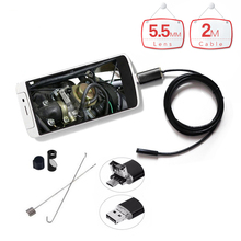 5.5mm Lens 2m Waterproof Micro USB Endoscope Android Endoscope Camera with 6LED Inspection Borescope for SmartPhone PC