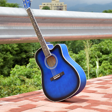 41 inch folk guitar guitar blue missing angle novice beginner entry student instrument acoustic guitar(China)