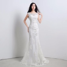 In Stock O-Neck Appliques Beading Zipper Back Mermaid Sweep Train Wedding Dresses Lace Bridal Dress
