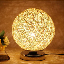 Modern Creative Multi Colors Hand Knitted Wicker Led Table Lamp For Bedroom Bedside Bar Restaurant Wedding Decor 1265(China)