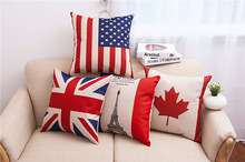 America Britain France Canada printed Cotton Linen Sofa cushion 45x45cm/17.7x17.7'' Throw pillow Home&Garden Textile cushion(China)