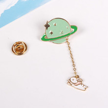 Fashion accessories vintage designed enamel rabbit spaceman planet charm costume brooch