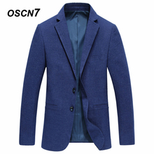 OSCN7 Blue Blazer Hombre Two Button Slim Fit Office Wear Mens Blazer Jacket 2018 New Fashion Suit Jackets for Men(China)