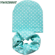 Fashion Baby Boys Girls Hats Beautiful Love Heart Dot Star Infant Hats Scarf Set 2 Pcs In Set Baby Hat Baby Cap for 0 to 12 Age(China)