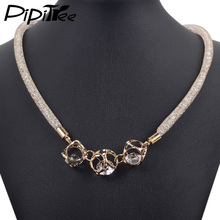 Handmade Gold Color Mesh Crystal Pendant Necklaces Charm Choker Collar Necklace for Women Fashion Costume Jewelry(China)