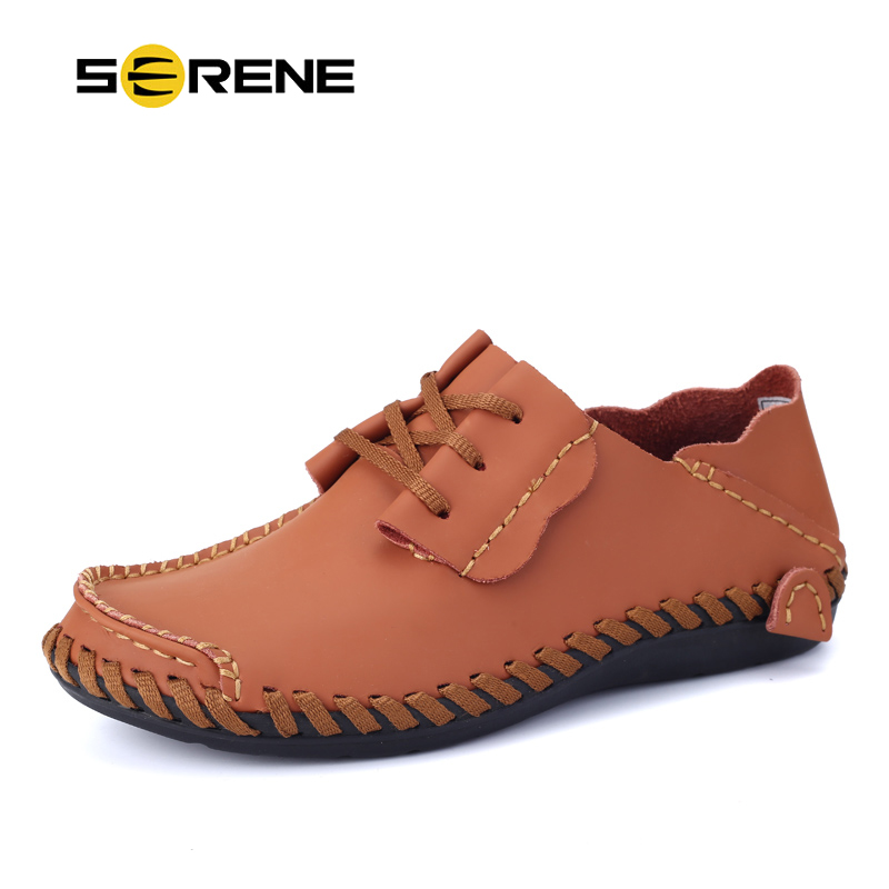 SERENE Brand Big Size38-50 Leather Fashion Driving Shoes 4 Colors Summer Spring Men Casual Loafers Breathable Male Boat Shoes<br>