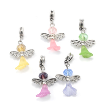 Buy 30pcs/lot 38mm European Style Large Hole Loose Beads handmade Lovely Wedding Dress Angel Charms Bead Mixed Color DIY Jewelry for $11.59 in AliExpress store