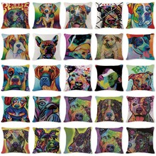 2017 New Hot Toss Pillow Modern Art Animal Dog Pillow Case Cover Camping Square Cotton Linen Lumbar Support Pillow Case Covers