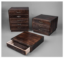 Japanese Furniture Wood Tea Box Storage Cabinet Paulownia Wood 3 Design Tea Storage Box Container For Tea Organizer Dark Finish