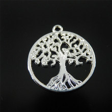 Julie Wang 10 PCs Mini Charms Alloy Bright Silver Plated Round Life Tree Jewelry Making Pendant Charm