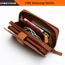 Wallet For Samsung Galaxy S4 5 6 7 edge Case 2 in 1 Card Slot Stand Case For Note 4 5 Flip Leather Cover Zipper Purse Phone Bag(China)