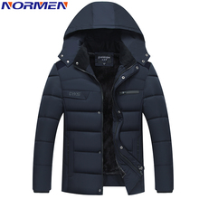 NORMEN Men's Casual Parkas Solid Fleece Winter Jacket Men Hooded Thick Warn Padded Overcoat Man Jaqueta Masculino Inverno