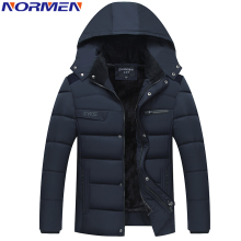 NORMEN Men's Casual Parkas Solid Fleece Winter Jacket Men Hooded Thick Warn Padded Overcoat Man Jaqueta Masculino Inverno(China)