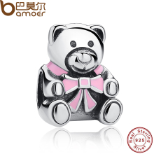 Authentic 925 Sterling Silver It's A Girl Teddy Bear, Pink Enamel Charm fit original Bracelets Jewelry Accessories PAS219(China)