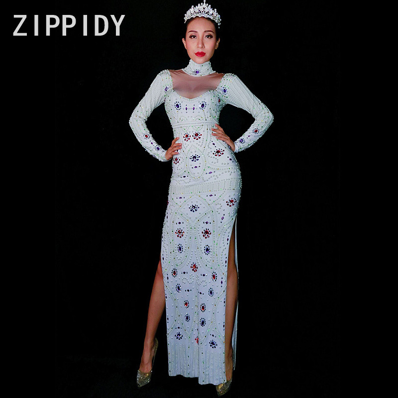 Glisten Rhinestones Long Dress Women's Costume Nightclub Party Celebrate Outfit Female Singer Performance Sexy White Dresses