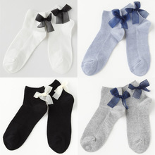 SP&CITY New Spring Fashion Design Cotton Short Socks With Bow Cool Sweet Girl Low Socks  Funny Cute Ribbon Bow Socks Slippers