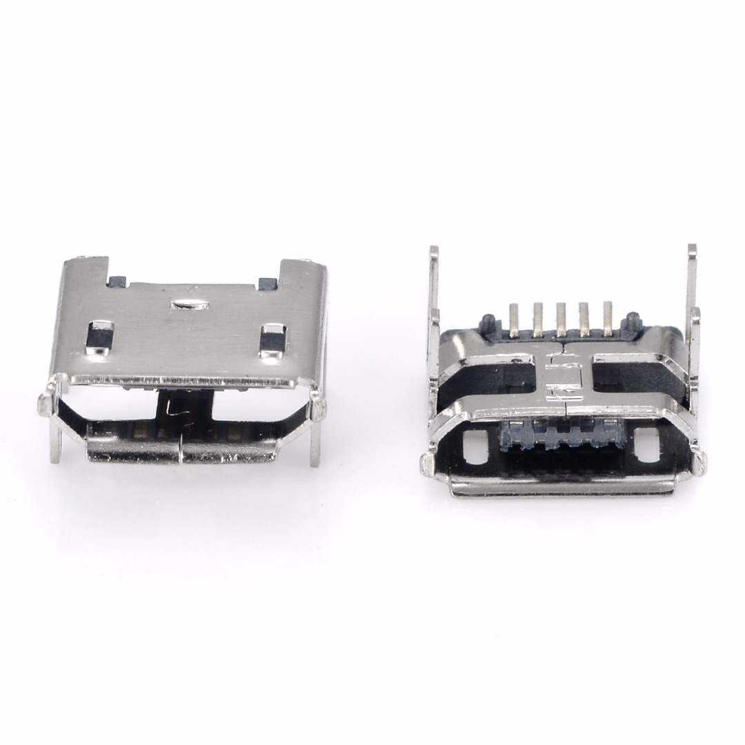 20pcs 5pin Female Micro USB Connector 4 feet Jack Socket SMD Charging QP