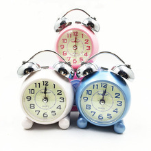 Twin Bell Cute Silent Quartz Movement Non Ticking Sweep Second Hand Bedside Desk Analog Alarm Clock Nightlight(China)