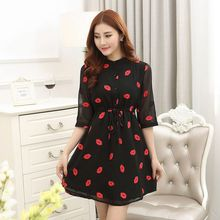 New Fashion Women Short Sleeve Red Dress Lips Printed Cozy Clothing Casual Dresses(China)