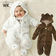 Winter Child Pantyhose Bear style children's coral fleece Hoodies overalls newborn girls sliders newborn toddle clothes JP-133