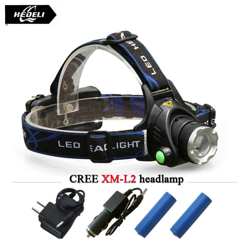 Powerful CREE XML T6 headlights XM-L L2 headlamp Zoom waterproof 18650 rechargeable battery camping led head lamp flash light<br><br>Aliexpress