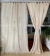 100% Cotton Linen Decorative  Hollowout embroidery Curtain Fabric Curtains For Living Room Cortinas Sheer Tulle Final Curtains