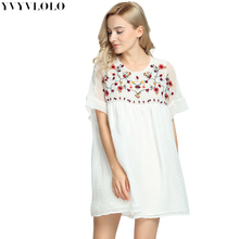 YVYVLOLO dress women summer 2017 New Flowers Embroidery white loose dress chiffon loose sexy mini short dress retro dress