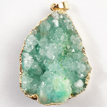 YUTENG 40x31x9mm Titanium crystal Agate Druzy Quartz Geode stone Pendant Bead Fit DIY Necklace jewelry making C0048891