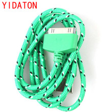 YIDATON New Green Braided Fabric USB Data Sync Charger Cable Cell Phone Charging Wire For iPhone 4s 4