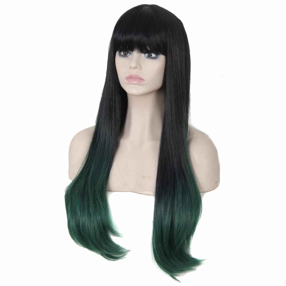 2016 Hot Selling Promotion Free Shipping Ladys Long Sexy Straight Hair Ombre Color Cheap Synthetic Hair Wig With Full Bangs<br><br>Aliexpress
