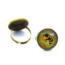 NCAA Georgia Tech Yellow Jackets Clear Domed Glass Cabochon Cover and Brass Pad ring jewelry for DIY Portrait Ring Making