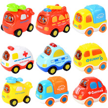 1 Pc Colorful Plastic Cartoon Mini Inertia Car Model Educational Toys Small Aircraft Children Engineering Vehicles Funny Games(China)