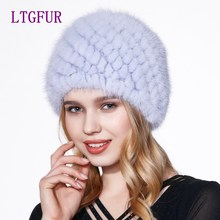 LTGFUR Real mink fur hat knitted winter hat mink hat fox fur pom poms new cap 2017 new hot sale high quality female beanies hat(China)