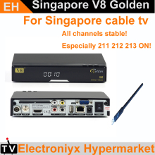 5PCS NEW blackbox starhub singapore tv box V8 Golden set top box for all hd channels free 239+ channels vs c1 c801hd amiko
