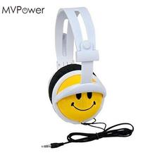 MVpower Cartoon Smile Face Children Kids Foldable Wired Headband Headphones Earphone for computer Macaroons headset(China)