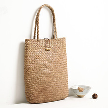 Bohemian Women's Brief Solid Color Straw Handbag.Holiday Beach Hand woven Straw Shoulder Bag.Boho Tote Eco Shopping Bags Basket